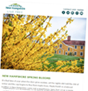 Image of a newsletter with a flowered scene on it