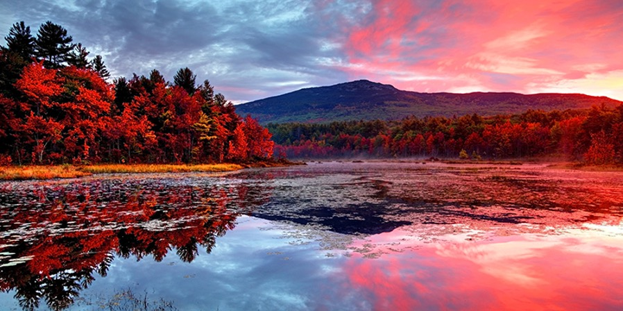 Sunset at Monadnock Region Loop Scenic Drive with red foliage