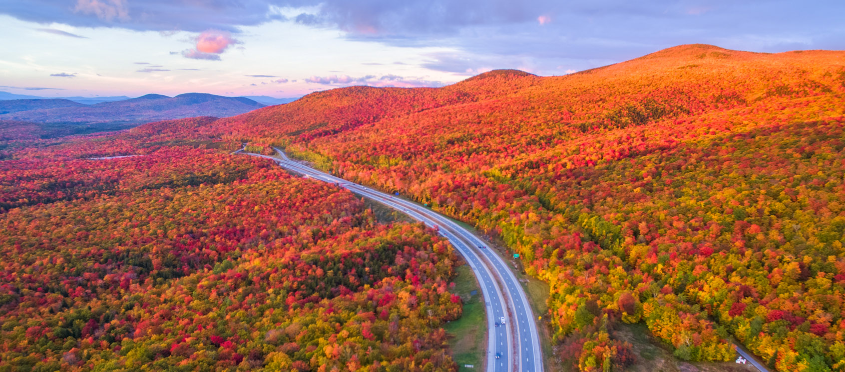 Aerial view of foliage scenic drive