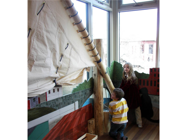 Kids can raise and lower the sail of the gundalow in our Cochecosystem exhibit, all about life on the river that flows behind the museum.