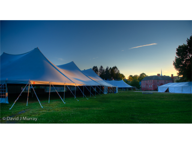 Wedding receptions often take place under a tent on the landscaped grounds of the museum.