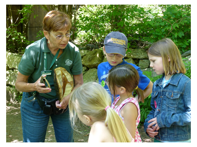 Volunteer educating children on the animal exhibit trail.