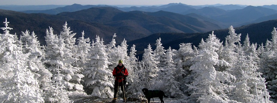 A person with their dog hiking a snowy Mount Pierce