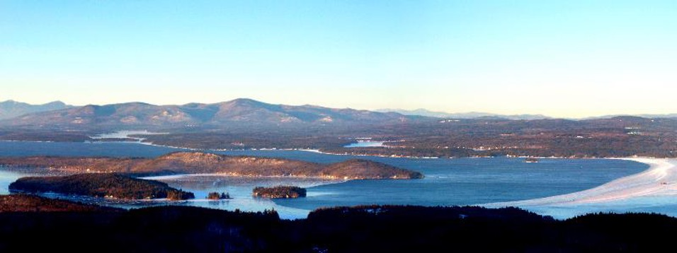 View from the Summit of Mount Major overlooking the mountains and lake