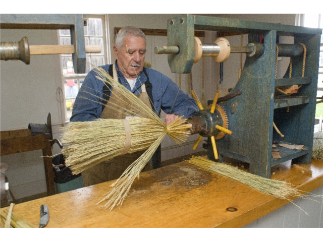 Shaker Broom being made.