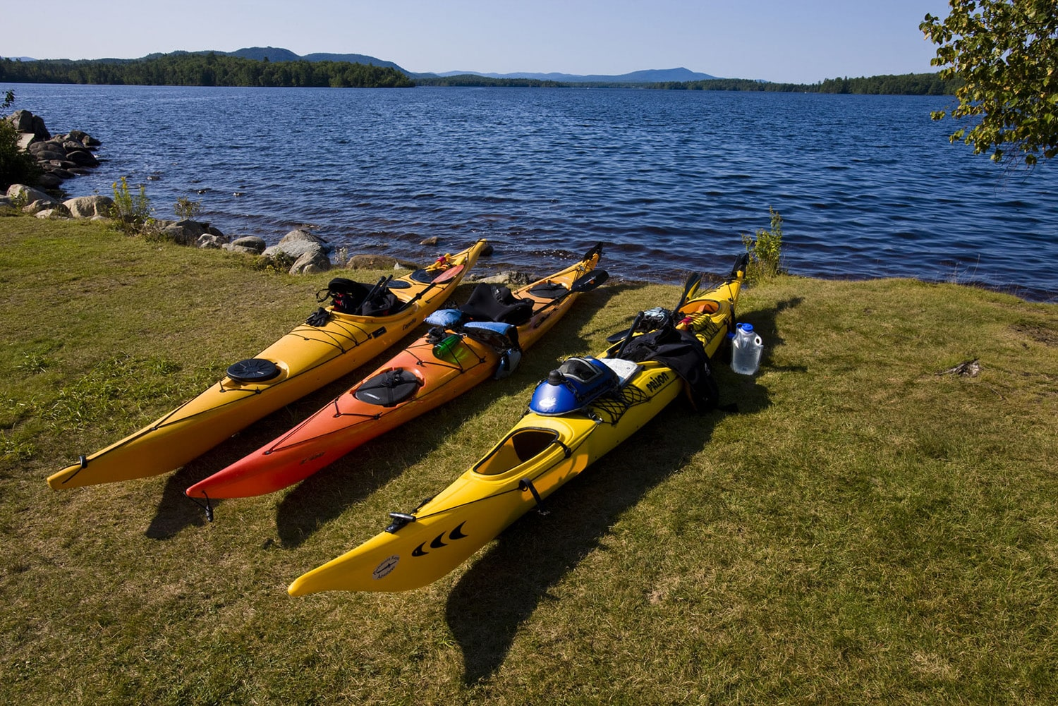 3 kayaks sitting on grass in front of a lake