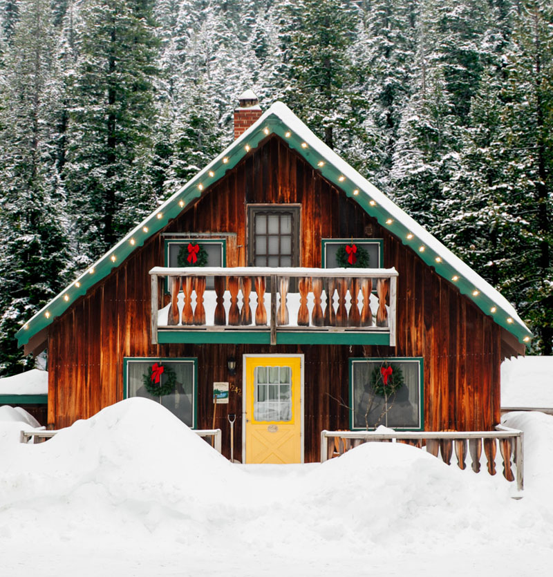 Cabin with yellow door and green roof surrounded by snowy trees